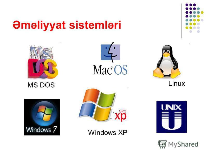 Əməliyyat sistemləri Linux MS DOS Windows XP