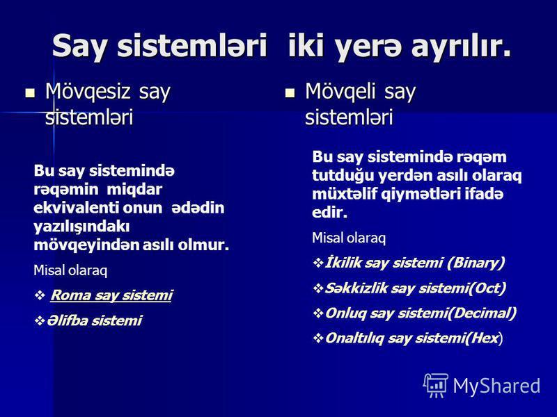 Ədədlərin yazılışı üçün istifadə olunan simvollar və üsullar toplusu say sistemi adlanır