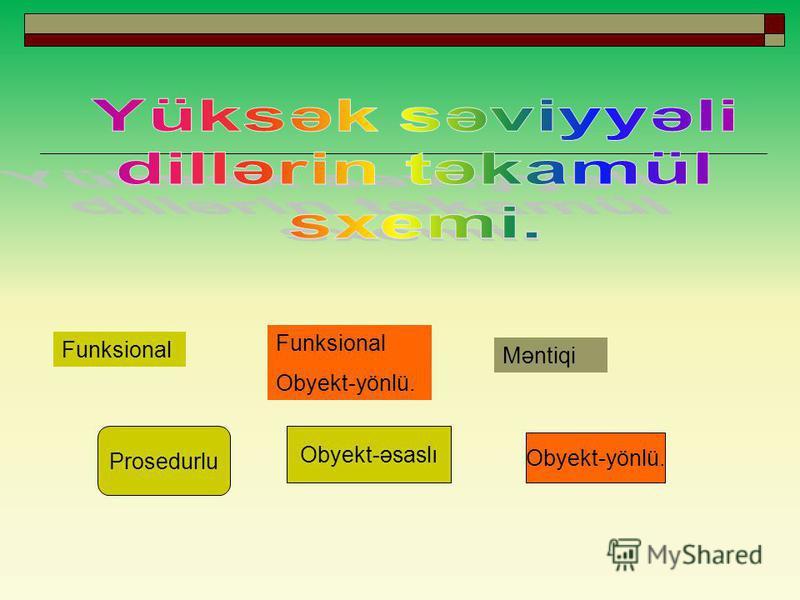 Funksional Obyekt-yönlü. Məntiqi Prosedurlu Obyekt-əsaslı Obyekt-yönlü.