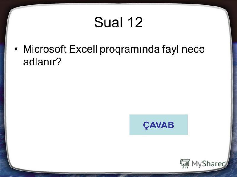 Sual 12 Microsoft Excell proqramında fayl necə adlanır? ÇAVAB