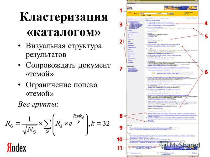 Семинар Москоской секции ACM SIGMOD 26 декабря 2002 Кластеризация «каталогом» Визуальная структура результатов Сопровождать документ «темой» Ограничение поиска «темой» Вес группы: