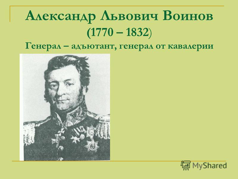 Александр Львович Воинов (1770 – 1832) Генерал – адъютант, генерал от кавалерии