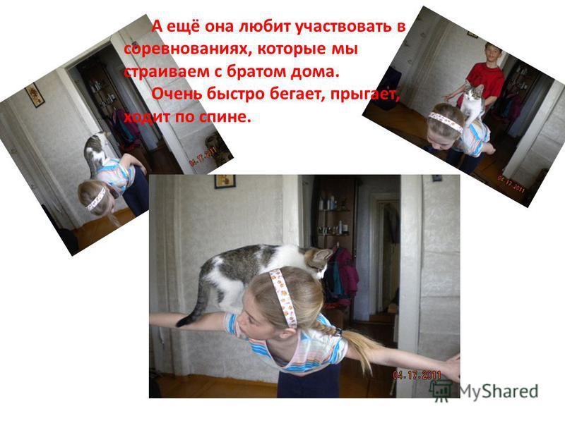 А ещё она любит участвовать в соревнованиях, которые мы страиваем с братом дома. Очень быстро бегает, прыгает, ходит по спине.