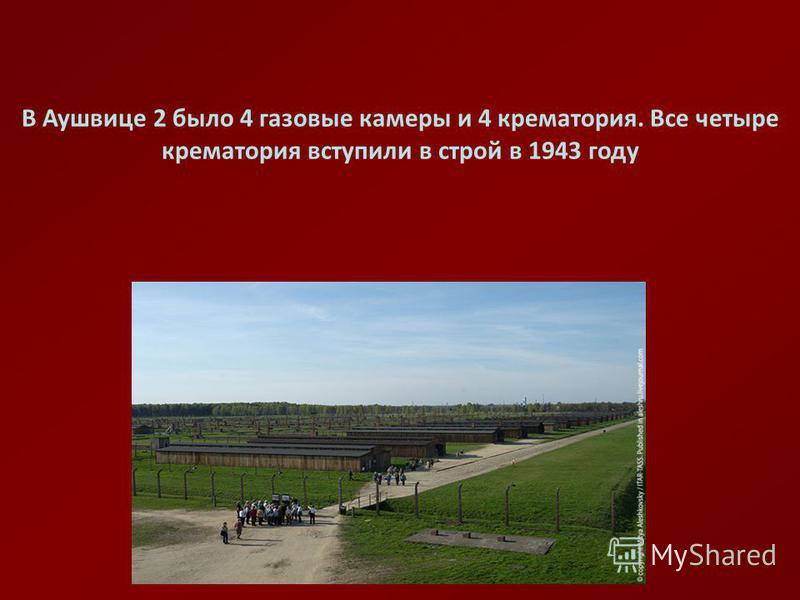 В Аушвице 2 было 4 газовые камеры и 4 крематория. Все четыре крематория вступили в строй в 1943 году