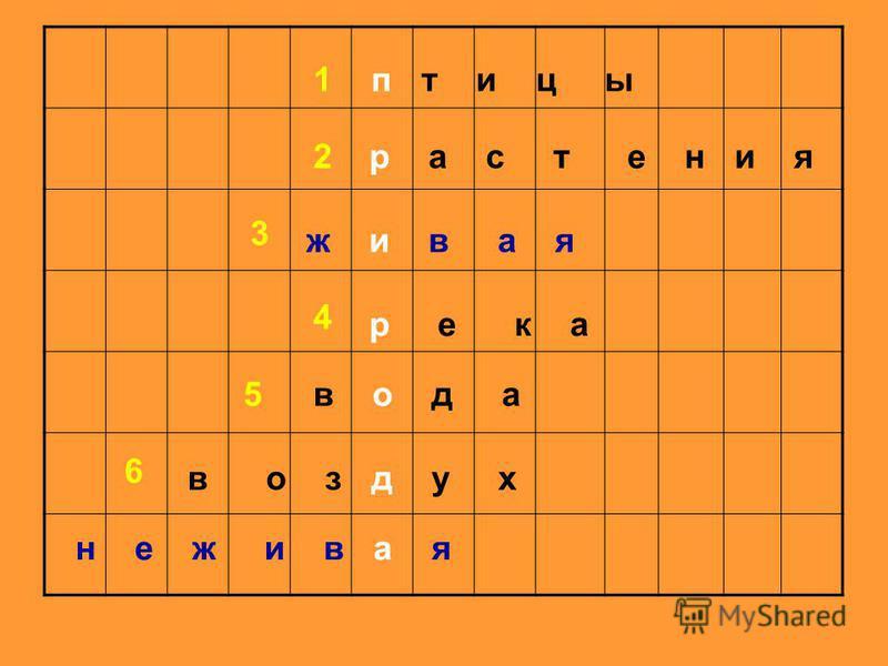 п т и ц ы р а с т е н и я ж и в а я р е к а в о д а в о з д у х н е ж и в а я 1 2 3 4 5 6