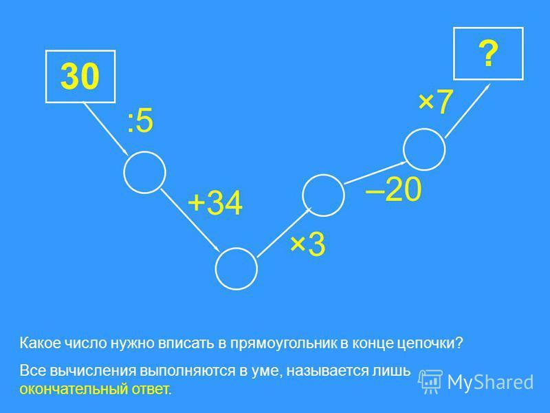 17 ? +13 : 6: 6 ×20 Какое число нужно вписать в прямоугольник в конце цепочки? Все вычисления выполняются в уме, называется лишь окончательный ответ. : 4: 4–20 ×12