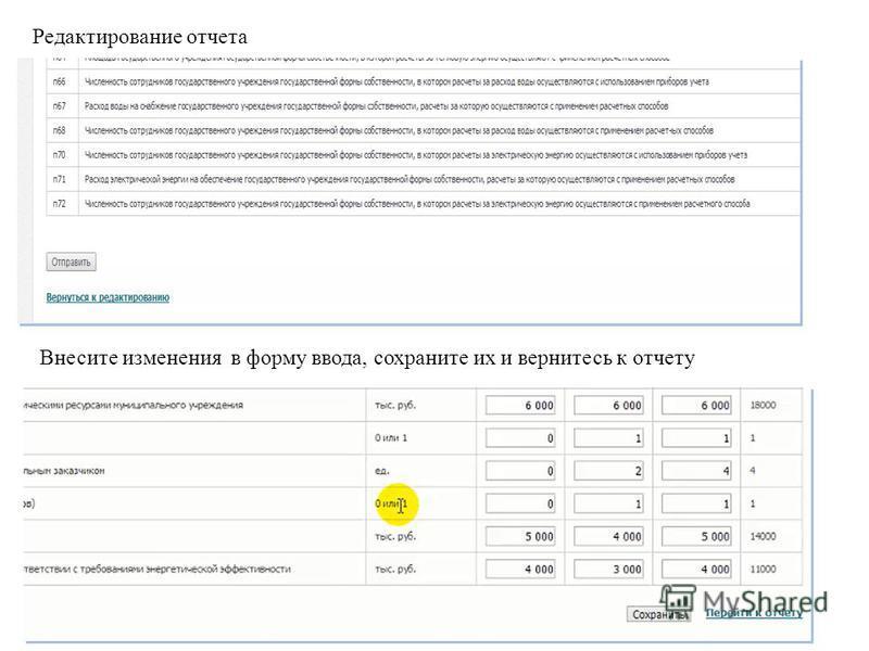 Редактирование отчета Внесите изменения в форму ввода, сохраните их и вернитесь к отчету
