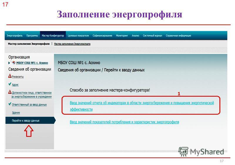 Российское энергетическое агентство Заполнение энергопрофиля 17