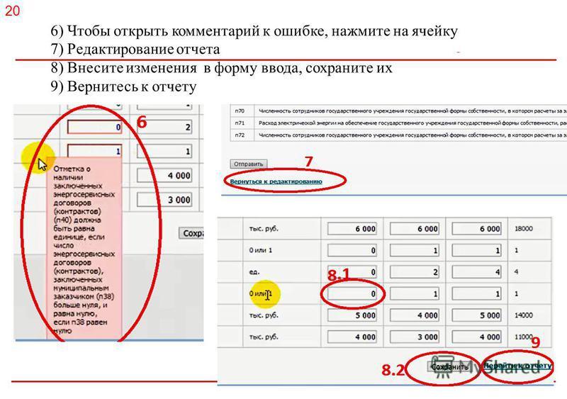 Российское энергетическое агентство 6) Чтобы открыть комментарий к ошибке, нажмите на ячейку 7) Редактирование отчета 8) Внесите изменения в форму ввода, сохраните их 9) Вернитесь к отчету 20