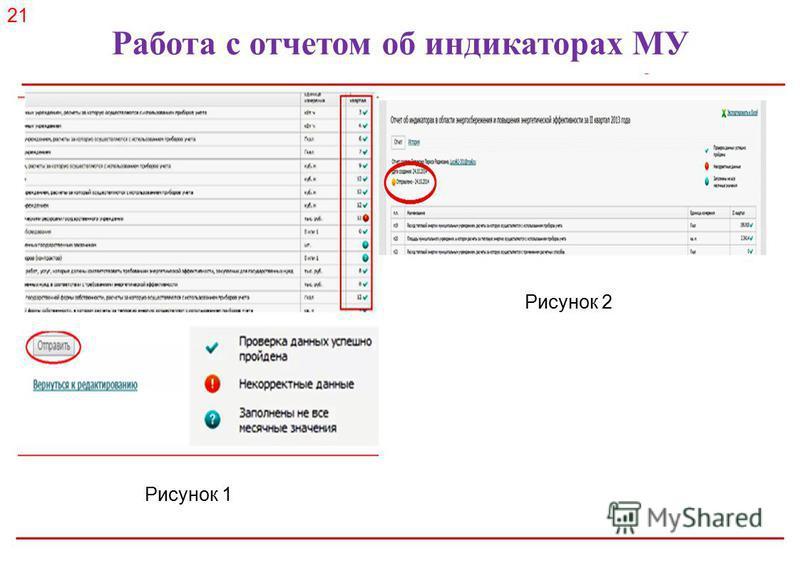 Российское энергетическое агентство Работа с отчетом об индикаторах МУ 21 Рисунок 1 Рисунок 2