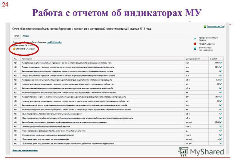 Российское энергетическое агентство Работа с отчетом об индикаторах МУ 24