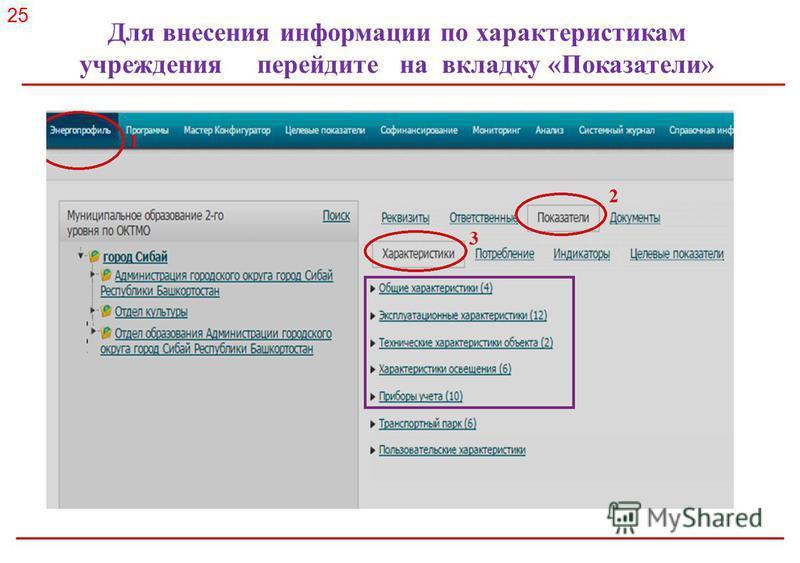 Российское энергетическое агентство Для внесения информации по характеристикам учреждения перейдите на вкладку «Показатели» 25