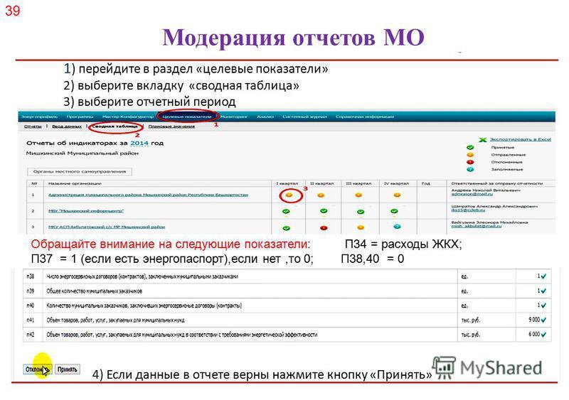 Российское энергетическое агентство Модерация отчетов МО 1 ) перейдите в раздел «целевые показатели» 2) выберите вкладку «сводная таблица» 3) выберите отчетный период 4) Если данные в отчете верны нажмите кнопку «Принять» Обращайте внимание на следую