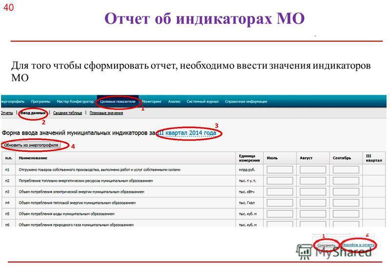 Российское энергетическое агентство Отчет об индикаторах МО Для того чтобы сформировать отчет, необходимо ввести значения индикаторов МО 40