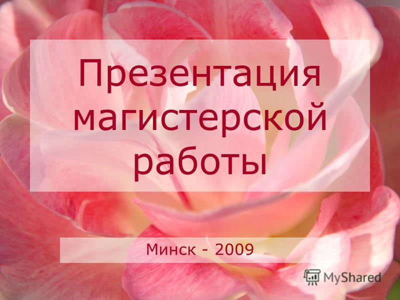 Презентация магистерской работы Минск - 2009