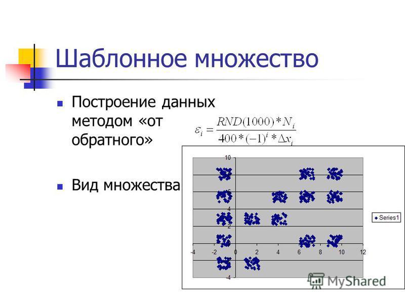Шаблонное множество Построение данных методом «от обратного» Вид множества