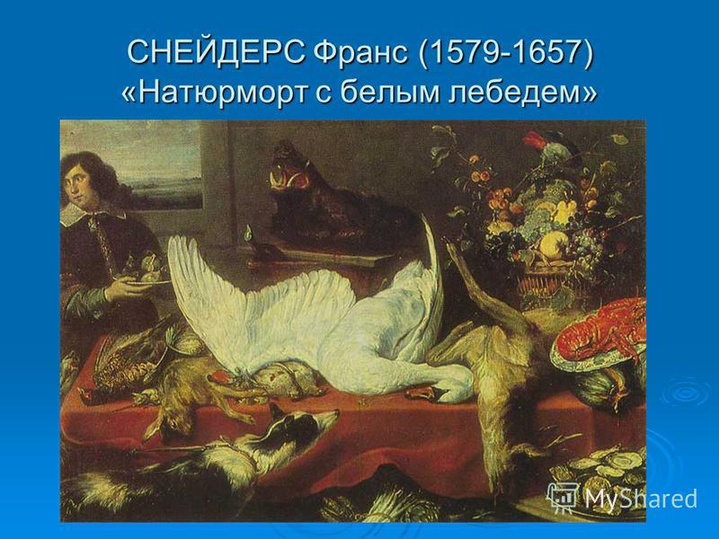 СНЕЙДЕРС Франс (1579-1657) «Натюрморт с белым лебедем»
