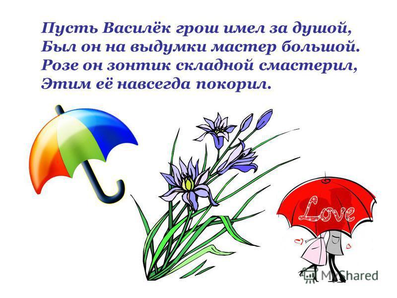 Пусть Василёк грош имел за душой, Был он на выдумки мастер большой. Розе он зонтик складной смастерил, Этим её навсегда покорил.