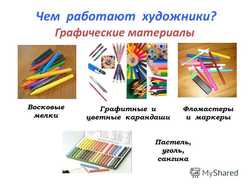 Чем работают художники? Графические материалы Восковые мелки Графитные и цветные карандаши Фломастеры и маркеры Пастель, уголь, сангина