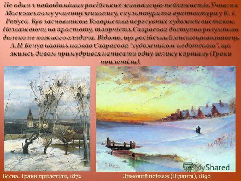 Весна. Граки прилетіли, 1872Зимовий пейзаж (Відлига), 1890