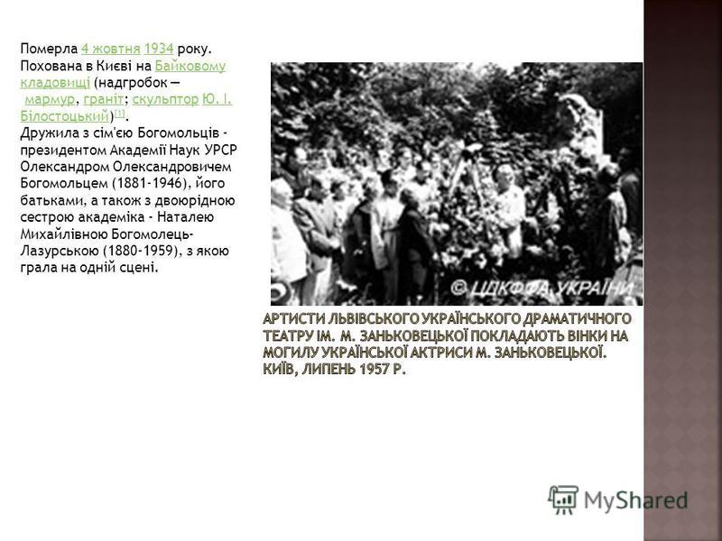 Померла 4 жовтня 1934 року. Похована в Києві на Байковому кладовищі (надгробок мармур, граніт; скульптор Ю. І. Білостоцький) [1].4 жовтня1934Байковому кладовищімармургранітскульпторЮ. І. Білостоцький [1] Дружила з сім'єю Богомольців - президентом Ака