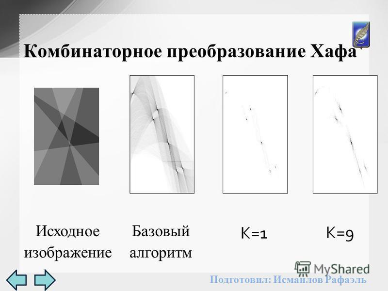 Комбинаторное преобразование Хафа Базовый алгоритм K=1 Исходное изображение K=9 Подготовил: Исмаилов Рафаэль