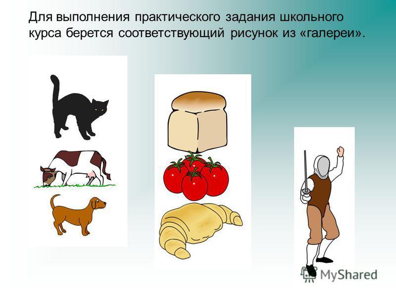 Для выполнения практического задания школьного курса берется соответствующий рисунок из «галереи».