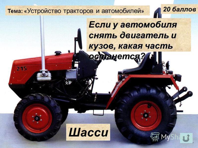 Тема: « Устройство тракторов и автомобилей » 20 баллов Если у автомобиля снять двигатель и кузов, какая часть останется? Шасси