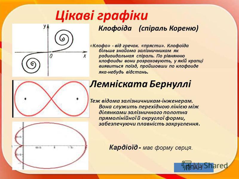 Цікаві графіки Клофоіда (спіраль Кореню) «Клофо» - від гречок. «прясти». Клофоіда більше знайома залізничникам як радиоидальная спіраль. По рівнянню клофоиды вони розраховують, у якій крапці виявиться поїзд, пройшовши по клофоиде яка-небудь відстань.
