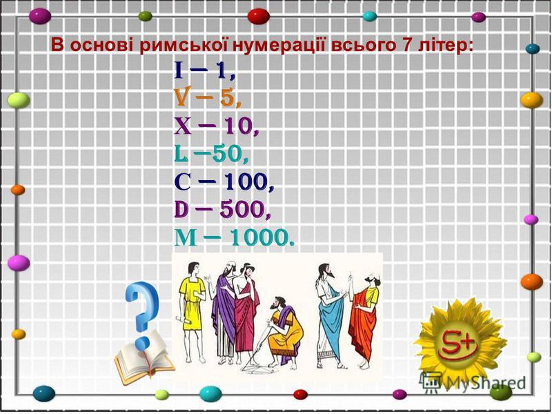 В основi римської нумерації всього 7 лiтер: І 1, V 5, Х 10, L 50, С 100, D 500, М 1000.