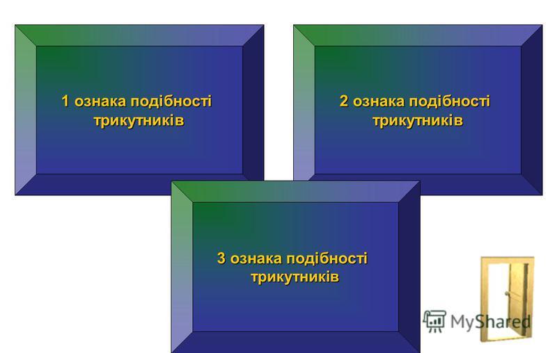 1 ознака подібності 1 ознака подібності трикутників 2 ознака подібності 2 ознака подібності трикутників 3 ознака подібності 3 ознака подібності трикутників Якщо 2 кути одного трикутника відповідно дорівнюють 2 кутам другого трикутника Якщо 2 сторони