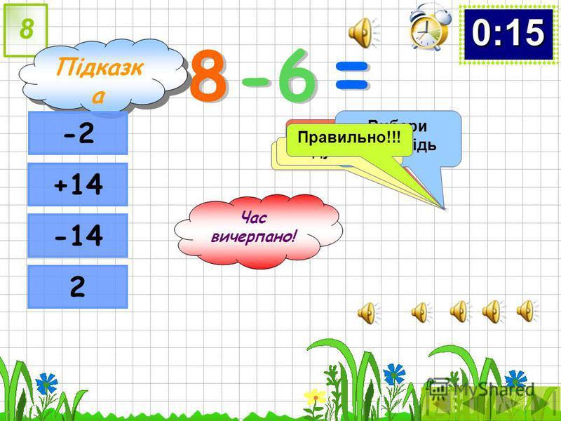 Час вичерпано! -12 :(-4) = = 7 Неправильно Подумай … Використай підказку! Підказк а Підказк а0:00:10:20:30:40:50:60:70:80:90:100:110:120:130:140:15 4848 3 -16 -3-3 Слідкуй за часом! Вибери відповідь Подумай ще Правильно!!!