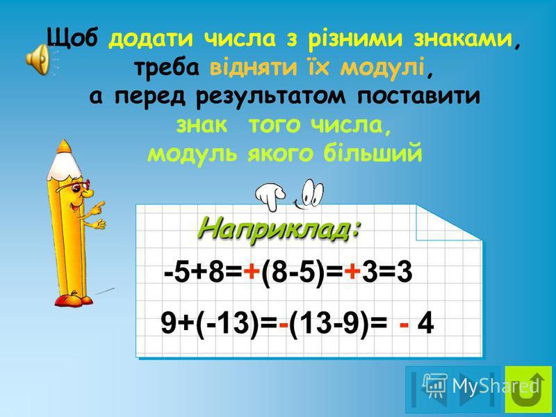 Щоб додати відємні числа, треба додати їх модулі, а перед результатом поставити знак - Наприклад:Наприклад: -5+(-8)=-(8+5)=-13