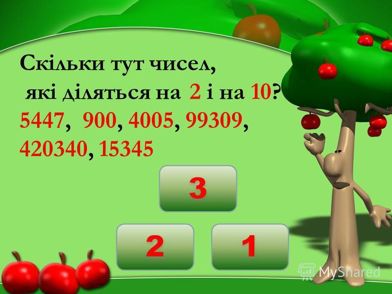 Скільки тут чисел, які діляться на 2 і на 10? 5447, 900, 4005, 99309, 420340, 15345