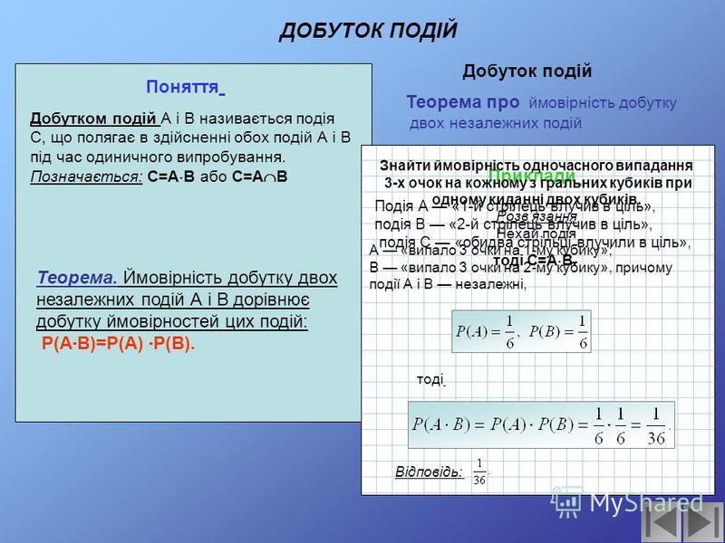Поняття Приклади Теорема. Ймовірність суми двох несумісних подій А і В дорівнює сумі ймовірностей цих подій: якщо А В=, то Р(А+В)=Р(А)+Р(В). В урні лежать 2 зелених, 3 червоних і 6 синіх кульок. З неї навмання вибирають 1 кульку. Яка ймовірність того