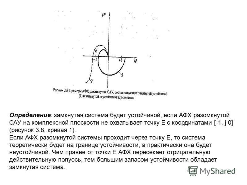 Определение: замкнутая система будет устойчивой, если АФХ разомкнутой САУ на комплексной плоскости не охватывает точку Е с координатами [-1, j 0] (рисунок 3.8, кривая 1). Если АФХ разомкнутой системы проходит через точку Е, то система теоретически бу