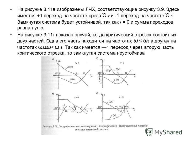 На рисунке 3.11 в изображены ЛЧХ, соответствующие рисунку 3.9. Здесь имеется +1 переход на частоте среза Ώ 2 и - 1 переход на частоте Ώ 1 Замкнутая система будет устойчивой, так как / = 0 и сумма переходов равна нулю. На рисунке 3.11 г показан случай