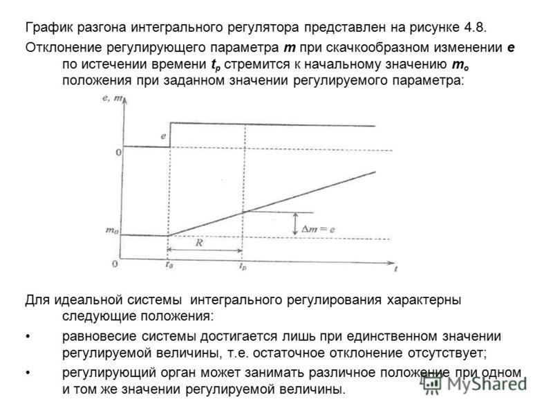 График разгона интегрального регулятора представлен на рисунке 4.8. Отклонение регулирующего параметра т при скачкообразном изменении е по истечении времени t p стремится к начальному значению т о положения при заданном значении регулируемого парамет
