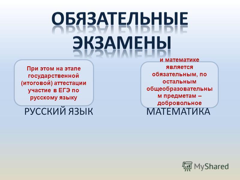 РУССКИЙ ЯЗЫК МАТЕМАТИКА При этом на этапе государственной (итоговой) аттестации участие в ЕГЭ по русскому языку и математике является обязательным, по остальным общеобразовательным предметам – добровольное