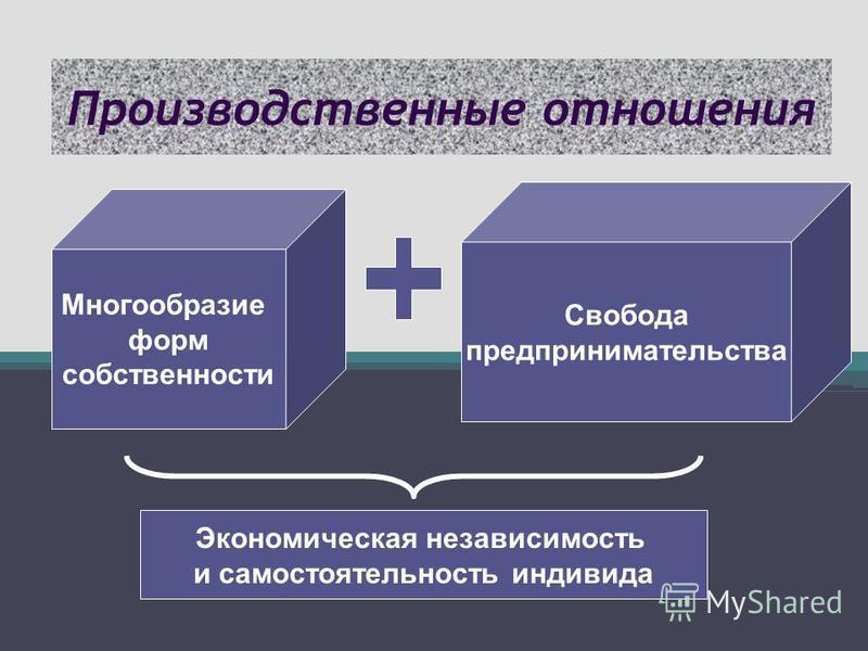 Производственные отношения Многообразие форм собственности Свобода предпринимательства Экономическая независимость и самостоятельность индивида