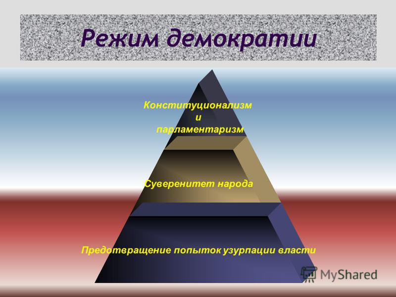 Режим демократии Конституционализм и парламентаризм Суверенитет народа Предотвращение попыток узурпации власти