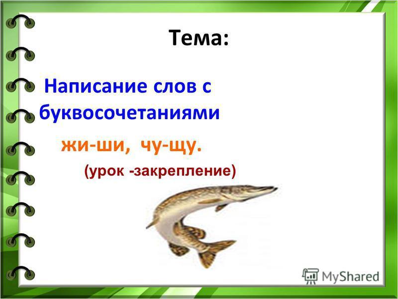 Тема: Написание слов с буквосочетаниями жи-ши, чу-щу. (урок -закрепление)