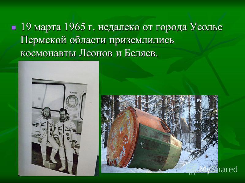 19 марта 1965 г. недалеко от города Усолье Пермской области приземлились космонавты Леонов и Беляев. 19 марта 1965 г. недалеко от города Усолье Пермской области приземлились космонавты Леонов и Беляев.