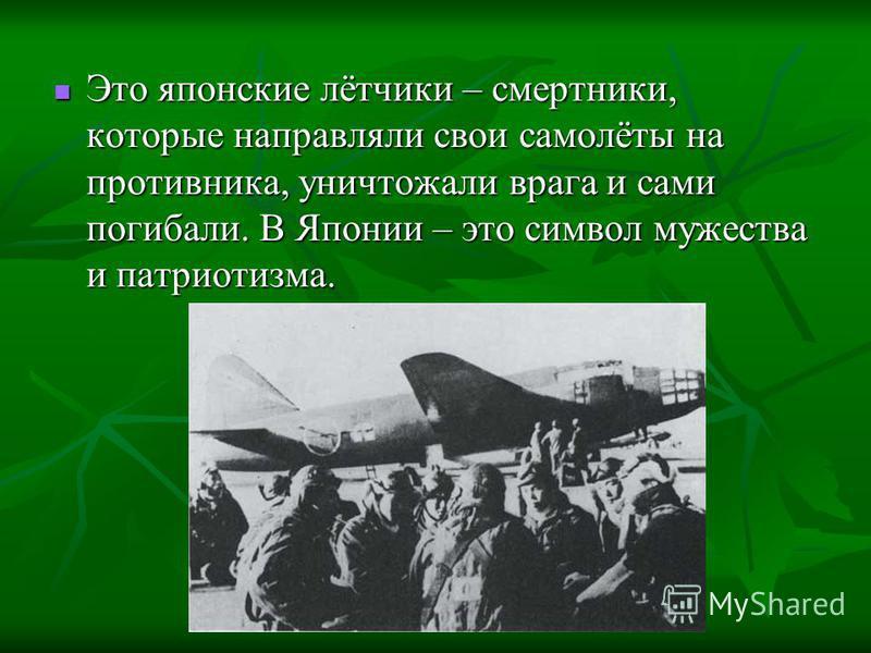 Это японские лётчики – смертники, которые направляли свои самолёты на противника, уничтожали врага и сами погибали. В Японии – это символ мужества и патриотизма. Это японские лётчики – смертники, которые направляли свои самолёты на противника, уничто