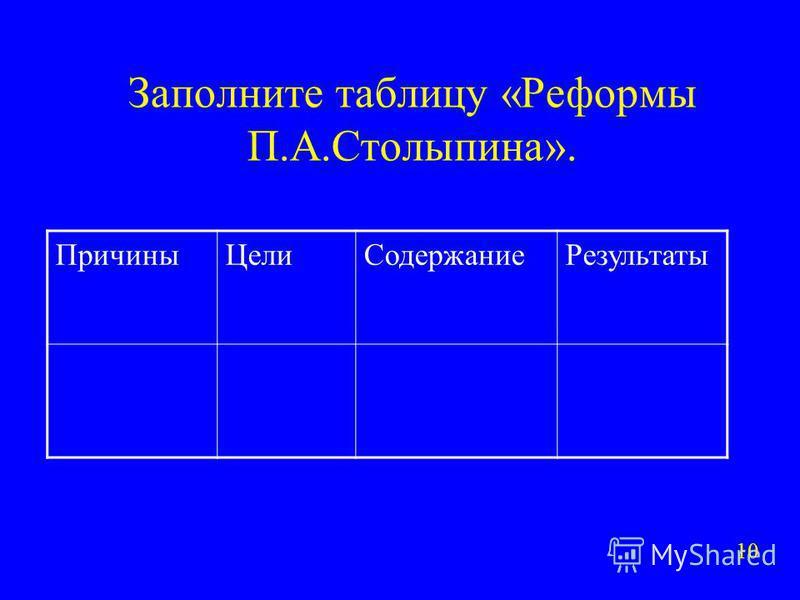 Заполните таблицу «Реформы П.А.Столыпина». Причины ЦелиСодержание Результаты 10