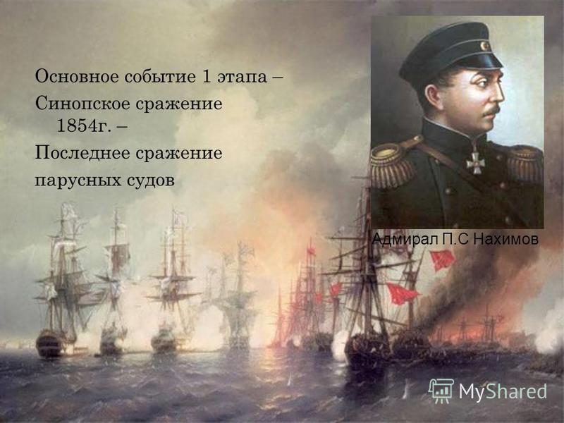Основное событие 1 этапа – Синопское сражение 1854 г. – Последнее сражение парусных судов Адмирал П.С Нахимов