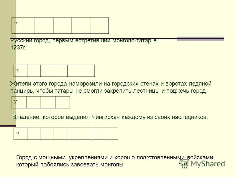 р Русский город, первым встретивший монголо-татар в 1237 г. т Жители этого города наморозили на городских стенах и воротах ледяной панцирь, чтобы татары не смогли закрепить лестницы и поджечь город у Владение, которое выделил Чингисхан каждому из сво