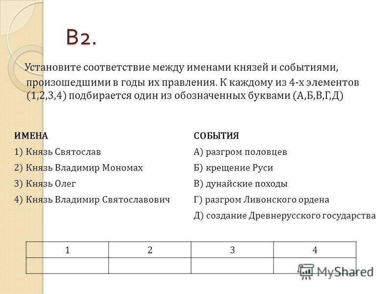 В 2. Установите соответствие между именами князей и событиями, произошедшими в годы их правления. К каждому из 4-х элементов (1,2,3,4) подбирается один из обозначенных буквами (А,Б,В,Г,Д) ИМЕНАСОБЫТИЯ 1) Князь СвятославА) разгром половцев 2) Князь Вл