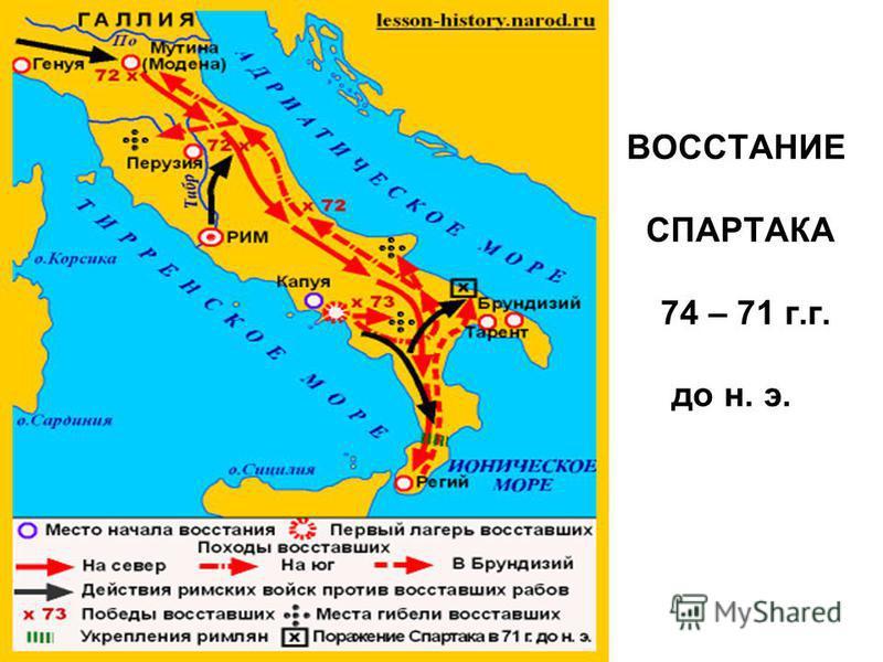 ВОССТАНИЕ СПАРТАКА 74 – 71 г.г. до н. э.