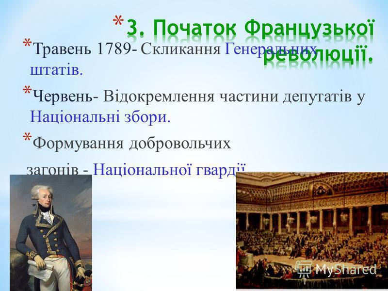 * Травень 1789- Скликання Генеральних штатів. * Червень- Відокремлення частини депутатів у Національні збори. * Формування добровольчих загонів - Національної гвардії.